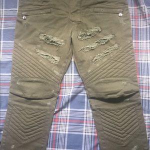 Mens biker jeans Skinny fit Distressed Denim